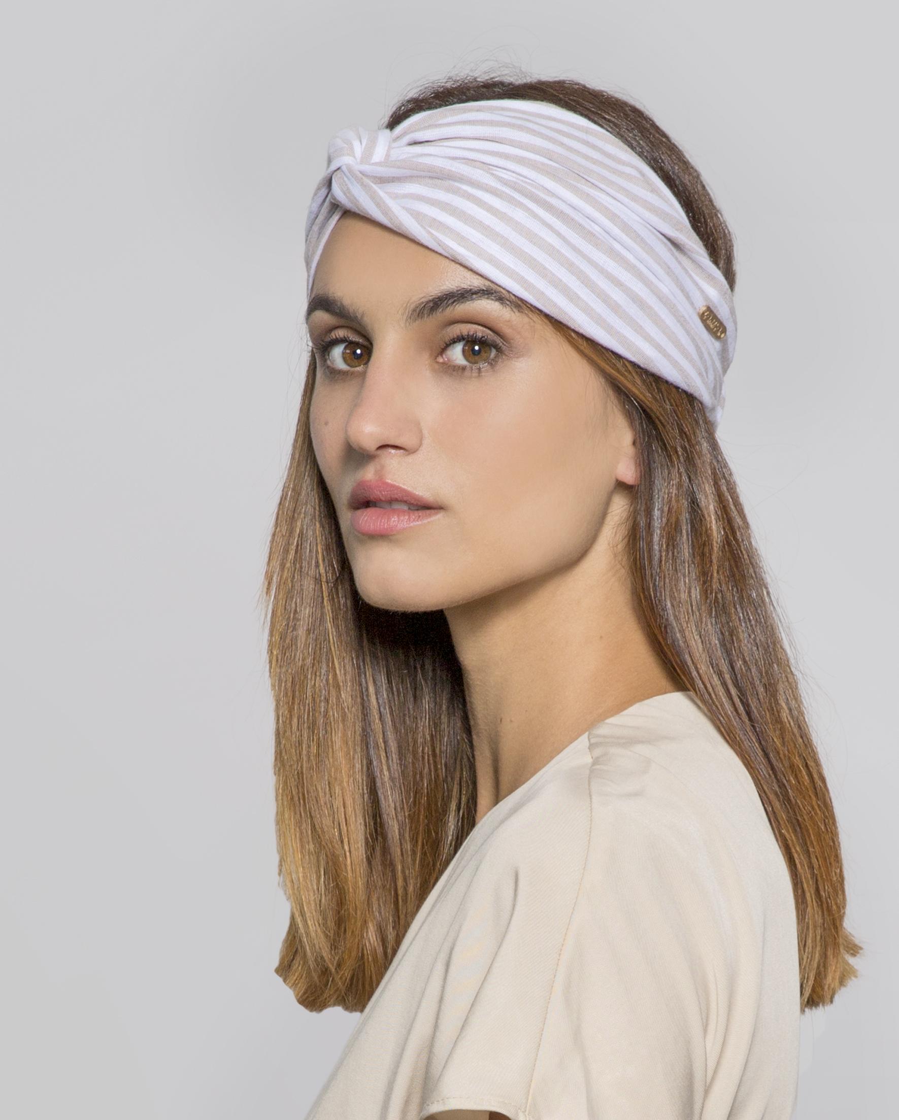 turbantes de lino rayas beige